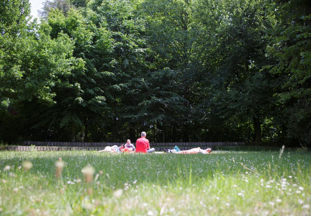 Mittagspause auf der Wiese hinter der Kaspar Hauser Stiftung